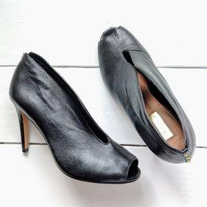 Halogen   Leather Peep-Toe Heels